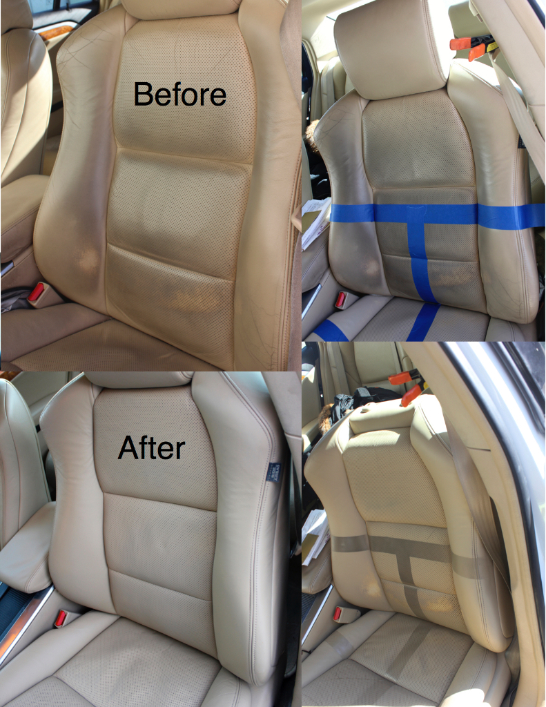 Snow's Auto Interior Restoration 2004 Acura TL these seats we're deep leather cleaned sprayed a new basecoat Color coat then a new topcoat over-the-top