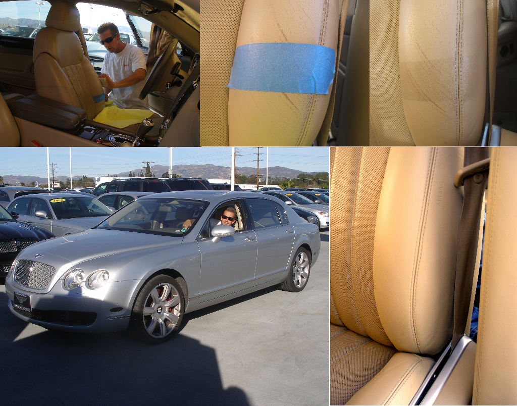 Snow's Auto Interior Restoration is the leader in leather repairs and deep leather cleaning as shown in this Bentley